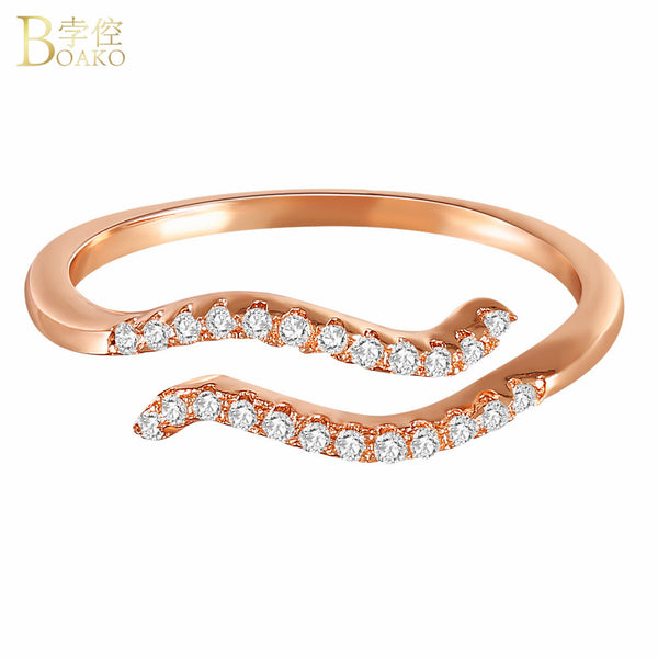 BOAKO Zodiac Finger Rings Aquarius Star Signs Constellations Adjustable Opening Rings For Women Girls Mini Inlay Zircon Jewelry
