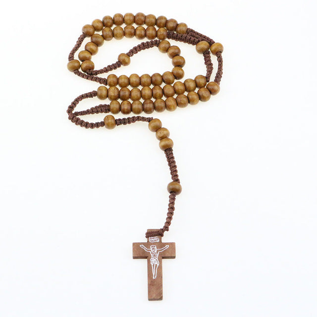 Unisex Wooden Cross Beaded Necklace - YOUR PLANET MATTERS