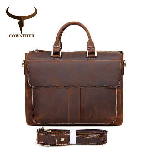 COWATHER Crazy Horse Leather Laptop Briefcase for Men