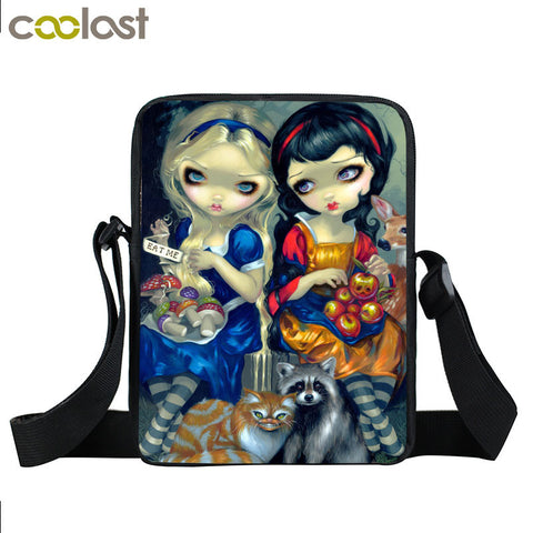 Cartoon Gothic Girl Mini Messenger Bag for Girls