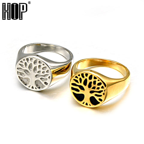 Titanium Stainless Steel Wisdom Tree Tree Of Life Rings For Men