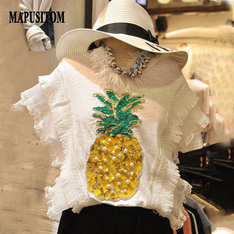 Beaded Sequin Pineapple T-shirt