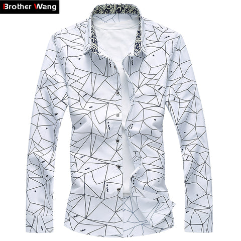 Printed Long Sleeve Slim Business Leisure Shirt for Men