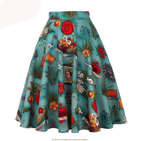 50s Inspired High-Waist A-line Skirt