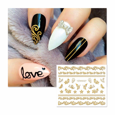 3D Gold Lace Flower DIY Stickers Nail Art Stickers Decals