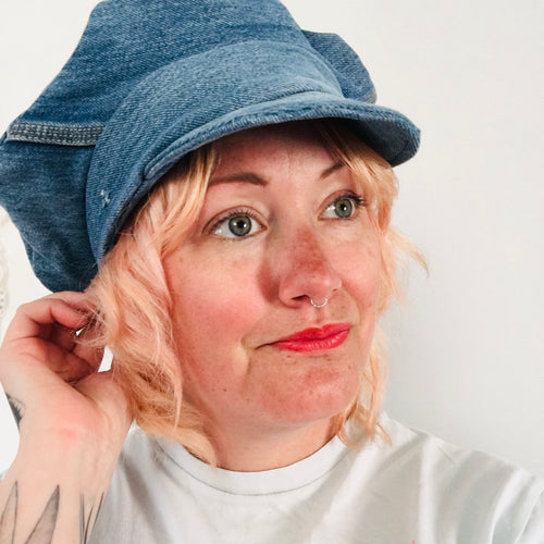 Upcycled Denim Baker Boy Hat