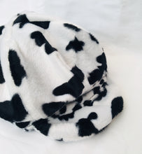 Load image into Gallery viewer, Upcycled Cow Print Baker Boy Hat