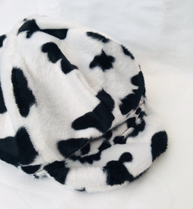 Upcycled Cow Print Baker Boy Hat