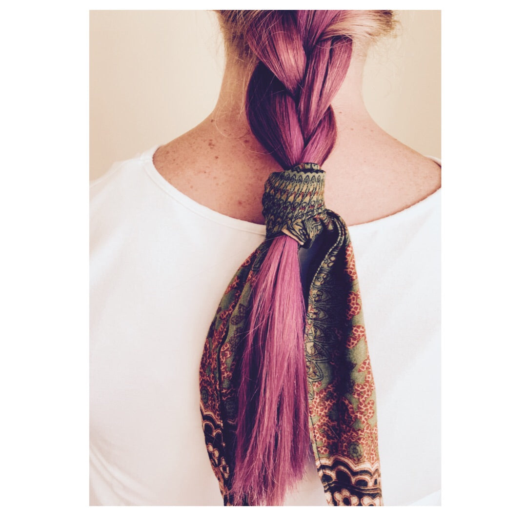 Mixed Fabric Remnant Hair/Neck Scarf
