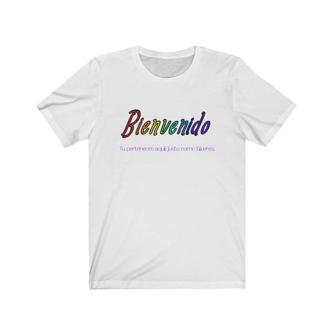 """Welcome"" Basic Unisex Short Sleeve Tee - Spanish"
