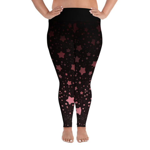 Black and Rose GOld Galaxy Plus Size Leggings