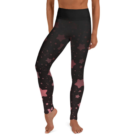 Black and Rose Gold Galaxy Yoga Leggings