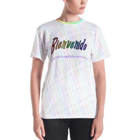 WELCOME RAINBOW SKETCH ALL-OVER PRINT UNISEX (CURVED) T-SHIRT -- Spanish