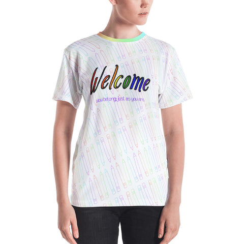 Welcome Rainbow Sketch All-Over Print Unisex (Curved) T-shirt -- English