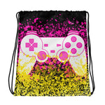 Pink Lemonade Gamer Drawstring bag - Pink and Yellow Splatter videogame inspired