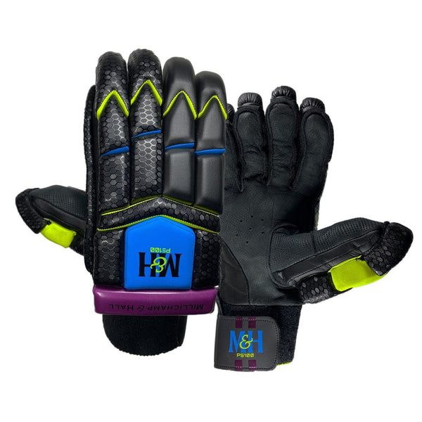 PS100 Black Batting Gloves Batting Gloves Millichamp and Hall