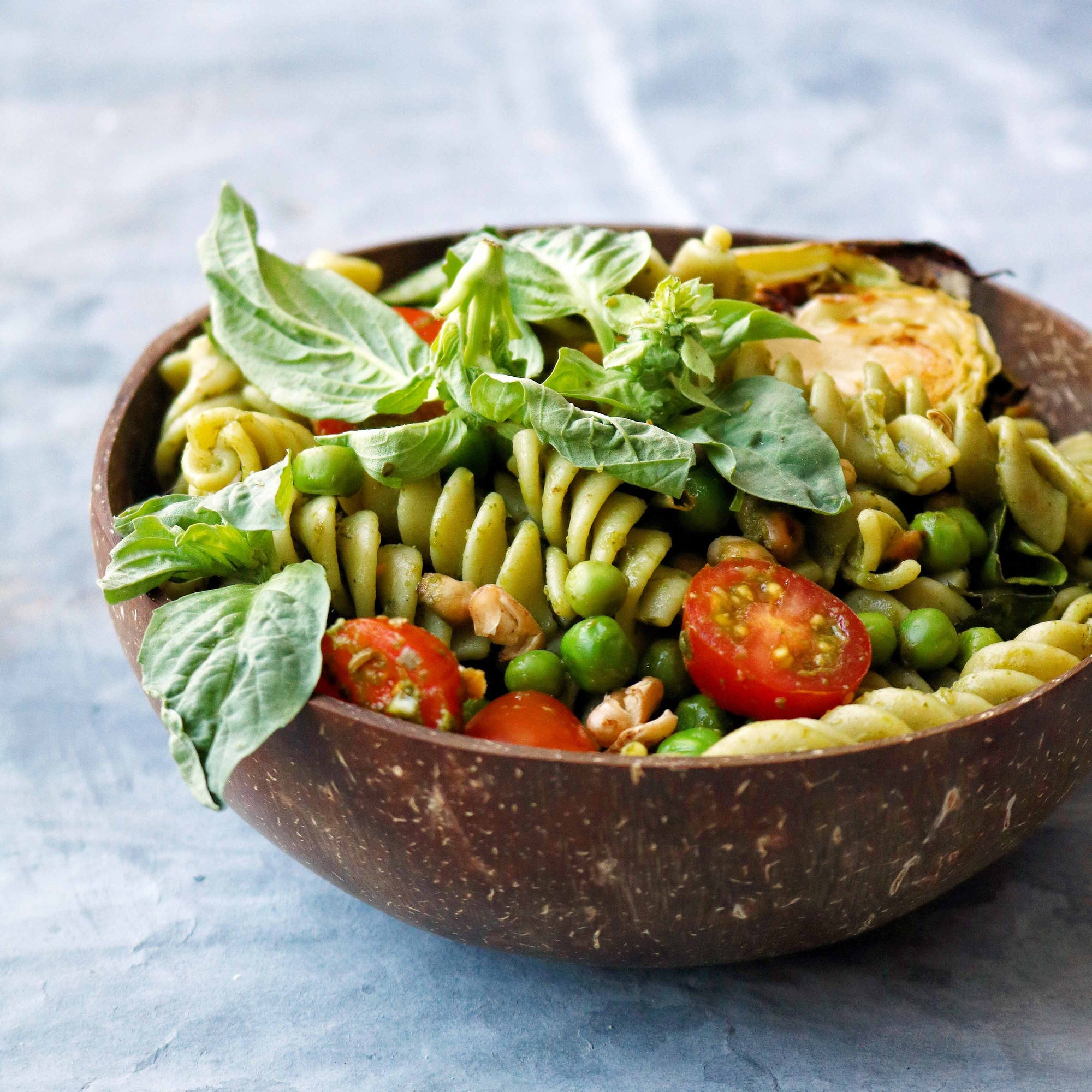 Pesto Pasta with Roasted Chickpeas