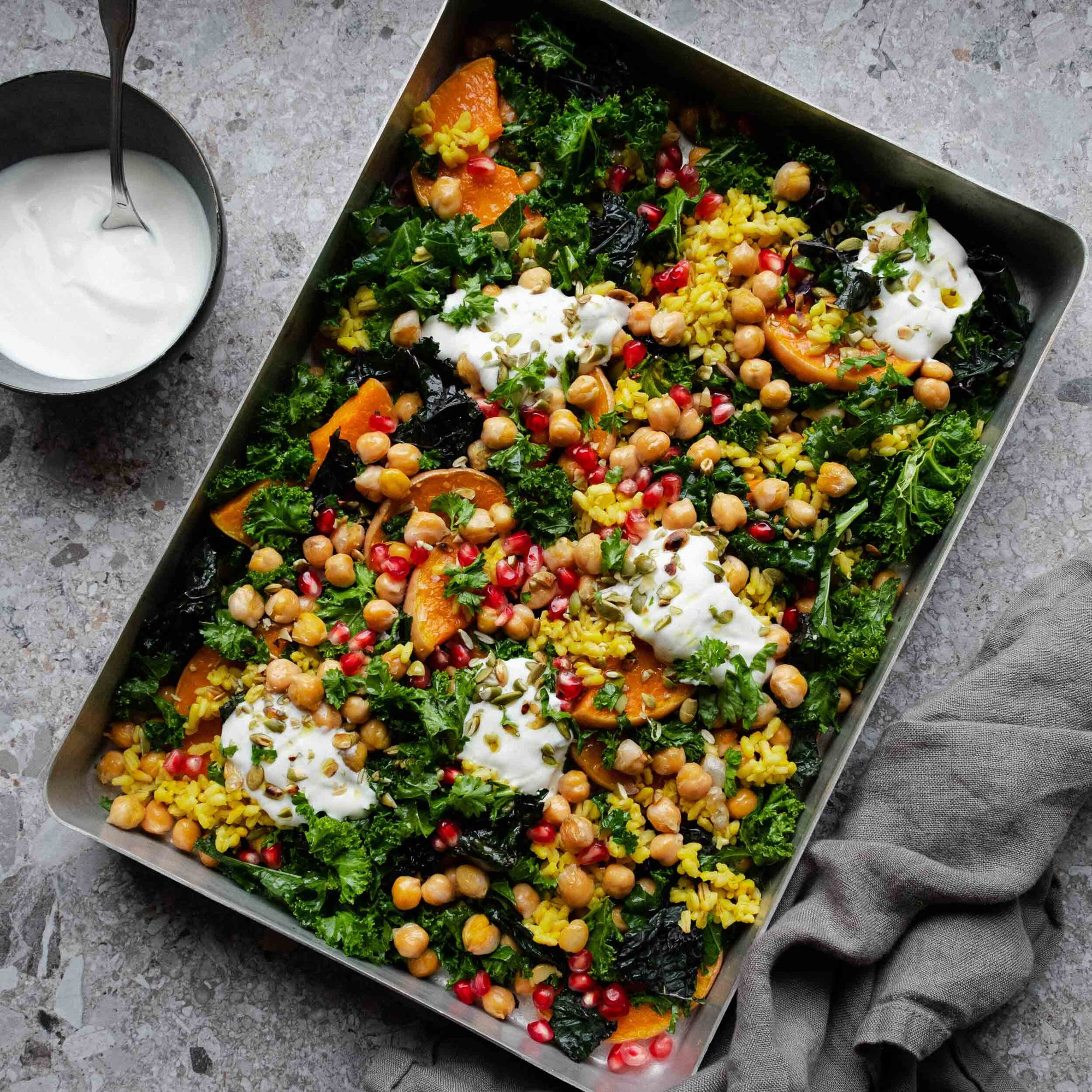 Warm Winter Salad with Roasted Squash, Kale and Chickpeas
