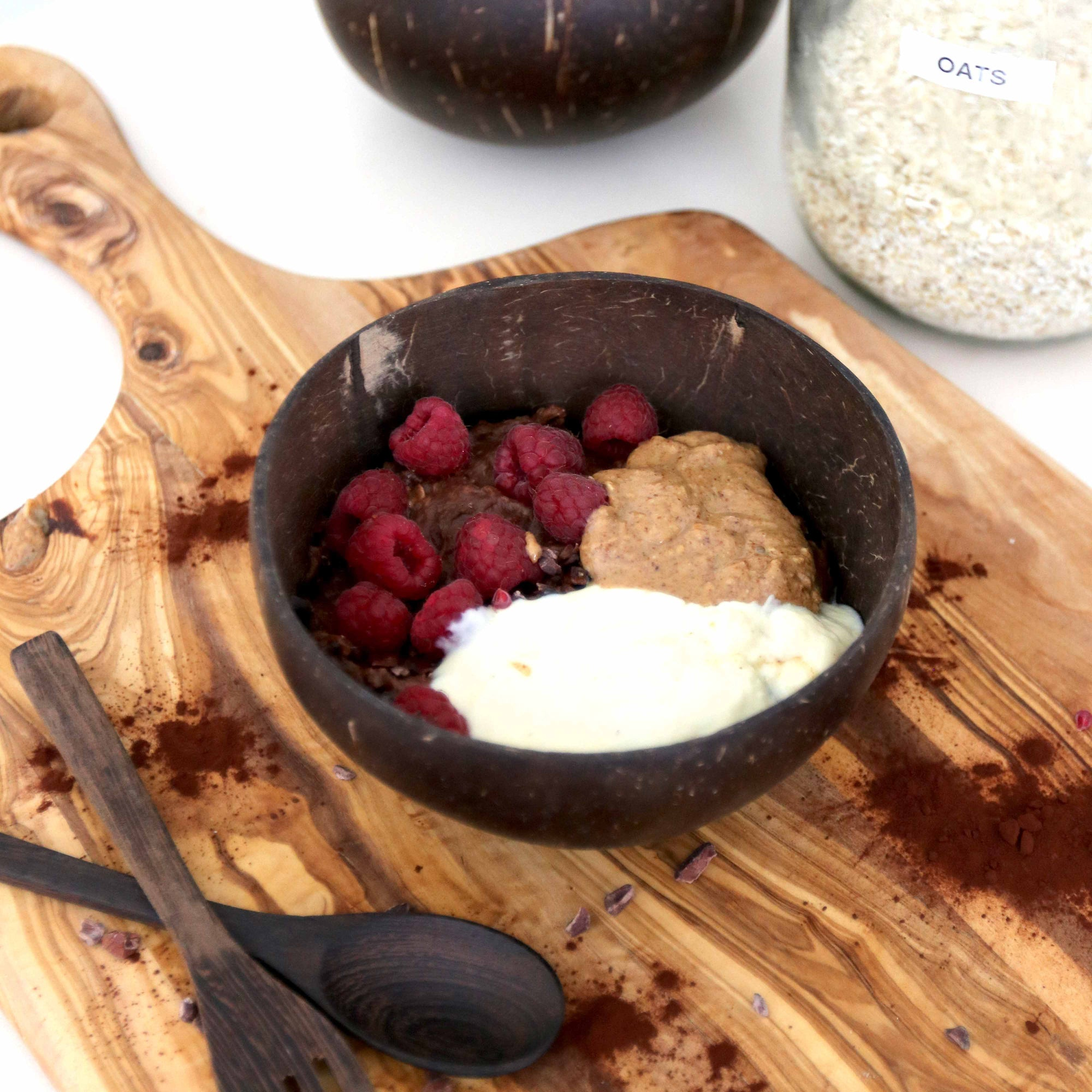 Ultimate Chocolate Oats with Raspberries