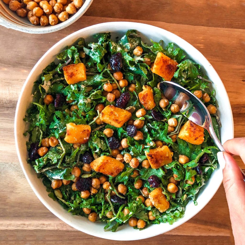 Butternut Squash Kale Salad with Roasted Chickpeas & Tahini Dressing