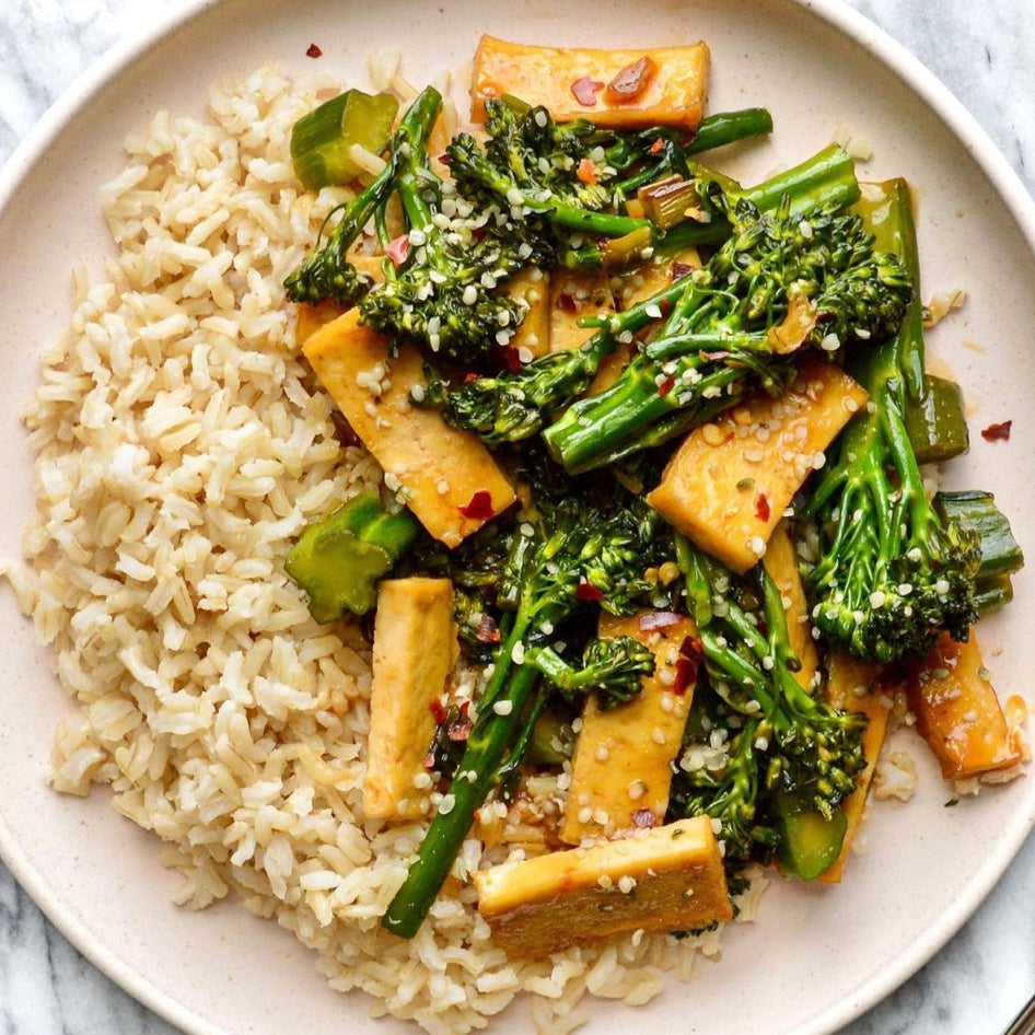 Tofu & Broccoli with Sweet and Savoury Sauce
