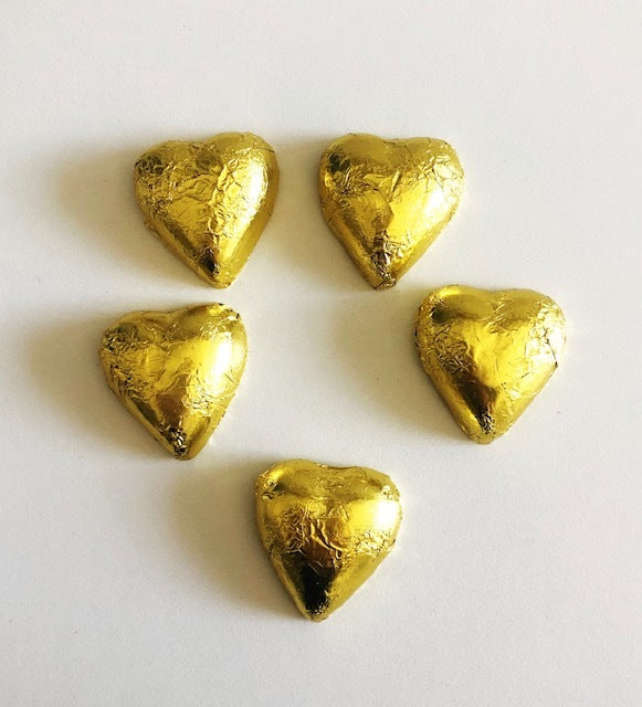 Milk Chocolate Gold Hearts x5