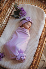 Load image into Gallery viewer, Baby Jersey Wrap Set with Matching Topknot in Butterfly - 2 piece