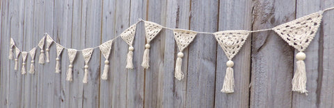 ob designs nautral crochet bunting