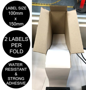 Couriers Please Shipping Labels 100x150mm Fanfold 4000 Labels/Carton 2 Labels/Fold [For Zebra Direct Thermal Desktop & Industrial Printers]