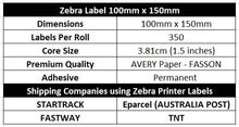 ZEBRA & ALL Direct Thermal Printer Compatible PINK Labels 100mm x 150mm 350 Labels/Roll