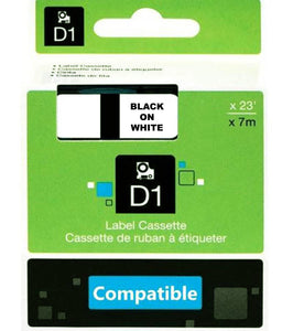 DYMO Compatible D1 45013 Label Tapes Black Print on White LW450 [12mmx7m]