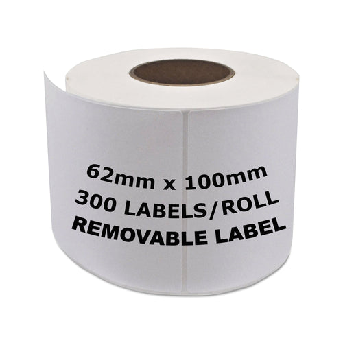 BROTHER Compatible Removable Labels 62mm x 100mm 300 Labels/Roll [DK11202]