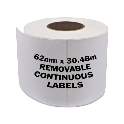 BROTHER Compatible Removable Labels 62mm x 30.48m Continuous Roll [DK44205]