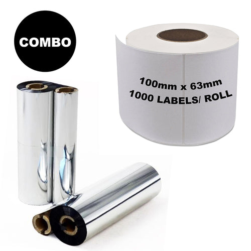 ZEBRA Thermal Transfer Compatible Labels 100mm x 63mm 1000 Labels/Roll + Wax Resin Ribbon COMBO