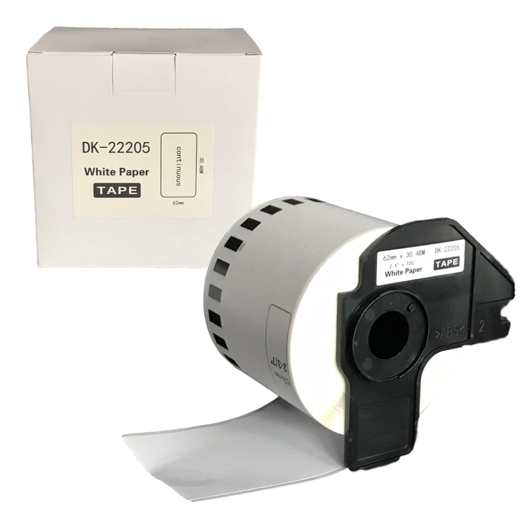 BROTHER Compatible Labels 62mm x 30.48m Continuous Roll [DK22205] Boxed with Cartridge Holder