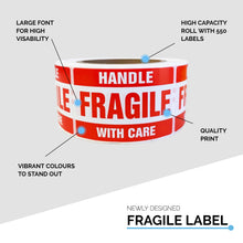 Fragile Label 50.8x76.2mm Handle With Care Adhesive Sticker 550 Labels/Roll