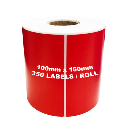 ZEBRA & ALL Direct Thermal Printer Compatible RED Labels 100mm x 150mm 350 Labels/Roll