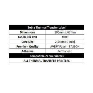 ZEBRA & ALL Thermal Transfer Printer Compatible Labels 100mm x 150mm 1000 Labels/Roll