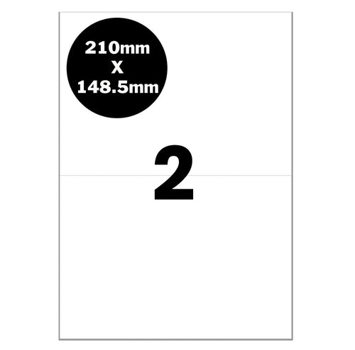 A4 Self Adhesive Address Labels [Full Cut - No Borders] for Laser Inkjet Printers eParcel Mailing Sticker [2 Per Page]