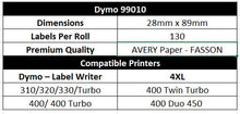 DYMO Compatible Labels 28mm x 89mm 130 Labels/Roll [99010]