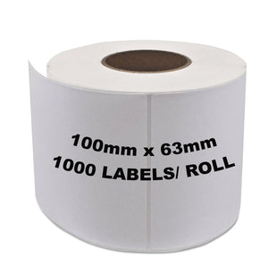 ZEBRA & ALL Direct Thermal Printer Compatible Labels 100mm x 63mm 1000 Labels/Roll