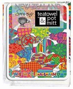 PK-65117 - 2 Pack Tea Towel Pot Mat Design Kiwis - New Zealand Gifts & Souvenirs