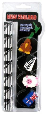 PK-35152 - 4 Pencils Black White Fern 4 Erasers Assorted - New Zealand Gifts & Souvenirs