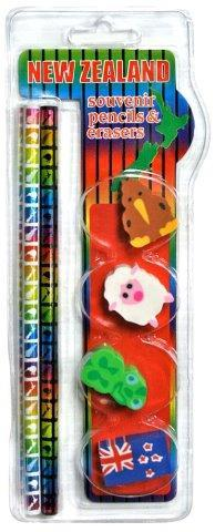PK-35139 - 4 Pencils Squares Design 4 Erasers - New Zealand Gifts & Souvenirs