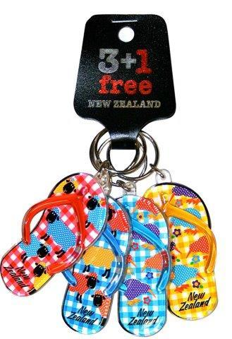 PK-21988 - Acrylic Keychains Four Pack Jandals Gingham - New Zealand Gifts & Souvenirs