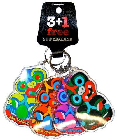 PK-21987 - Acrylic Keychains Four Pack Tiki - New Zealand Gifts & Souvenirs