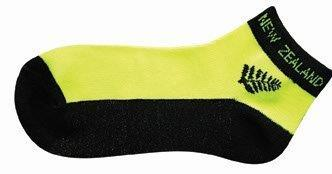 PK-55064 - Ankle Socks Fluro Yellow Fern - New Zealand Gifts & Souvenirs