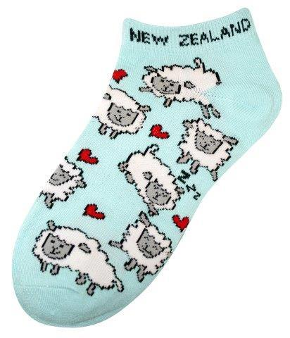 PK-55257 - Ankle Socks Sheep Heart Aqua - New Zealand Gifts & Souvenirs