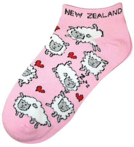 PK-55256 - Ankle Socks Sheep Heart Pink - New Zealand Gifts & Souvenirs
