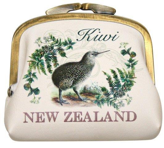 PK-00560 - Bags and Wallets Clip Purse Vintage Kiwi - New Zealand Gifts & Souvenirs